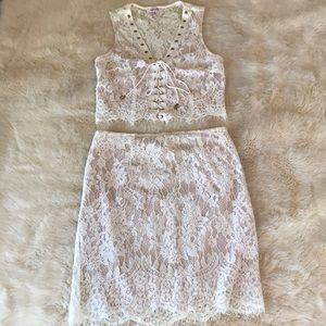 White Lace Two Piece Set